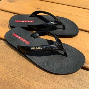 Prada sport black patent leather flip flops 37.5
